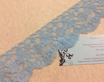 1 yard of  2 1/2 inch Blue chantilly lace trim for bridal lace, baby headband lace, garter, hair acc by MarlenesAttic - Item 2RR