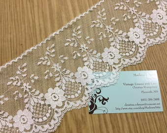 1 yard of 4 inch White Chantilly lace trim for bridal, garter, wedding supplies, couture by MarlenesAttic - Item 7SS