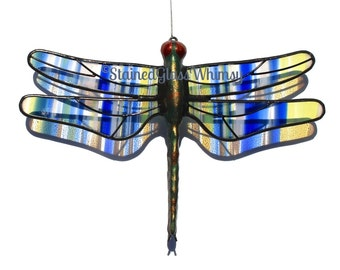 Stained Glass DRAGONFLY Suncatcher, Cobalt Blue , Sunflower Yellow, White on Clear Wings,  Dragonfly Ornament, USA Handmade, Striped Wings