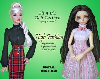 """High Fashions doll clothes patterns for Slim 1/4 MSD BJD & 16"""" doll: Minifee, Kid Delf, Ellowyne Wilde, poppy parker teen, fashion royalty"""