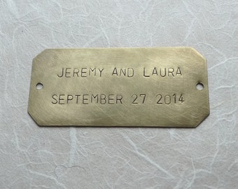 Personalized Nameplate (7.8 x 2.5 CM), Hand Stamped Brass Plate, ID Tag, Door Plaque, Memorial Keepsake, Custom Made, 2 lines of Text