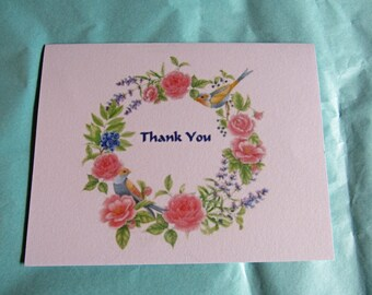 Watercolor Floral Wreath with a Bird Handmade Thank You Note Cards Set of 5 with Envelopes