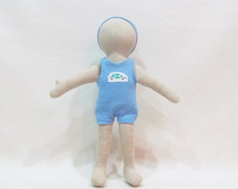 """Little almond colored doll, gender neutral soft cloth doll,  unique gift, stocking stuffer, multi cultural dolls, 11"""" doll, for all ages"""