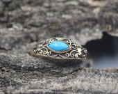 10k Gold Ring Yellow Solid Gold Band with Blue Turquoise Size 6 Scrollwork Vintage