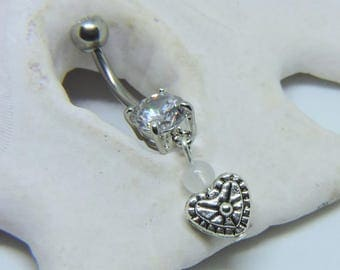 Belly Button Ring - Belly Button Jewelry - Belly Ring - Heart with Your Choice Of Gemstone - Made to Order
