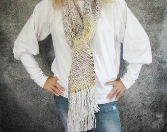 Handwoven Scarf, Yellow Purple Handspun Scarf, Handwoven Shawl, Art Yarn Scarf, Natural Wool Scarf, Handwoven Wrap, Handspun Wool Wrap