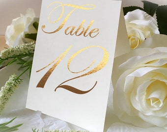 A-Shape Wedding Table Number Signs, Golden Print Numbers Double Sided Table Cards, Tented Table Decor, Tented Table Numbers