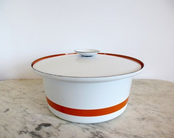 Cathrineholm Ribbon Casserole Orange Striped Dutch Oven Norway Mid Century Enamelware