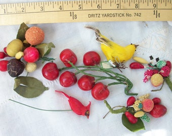 Vintage Millinery Fruit Bunches ~ Lot ~ Colorful ~ Cherries ~ Birds ~ Nifty Old Supply for Hats ~ Spun Cotton ~ Sugared Fruit