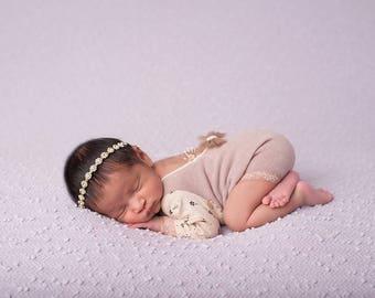 Ready To Ship Baby Halo, Gold Rhinestone- Gold Rhinestone Baby Headband Hair Accessories on Gold Skinny Elastic Photography Prop