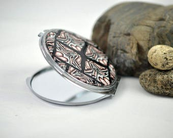 SALE - Patchwork Black, Bronze, and White Compact Mirror with Polymer Clay
