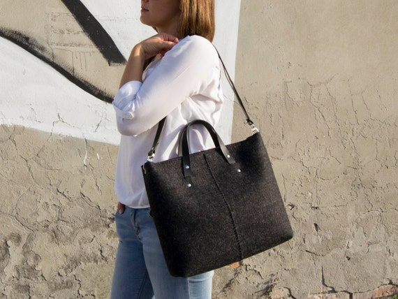 Wool felt HANDBAG / felt tote bag / felt women's bag / black bag / charcoal bag / made in Italy