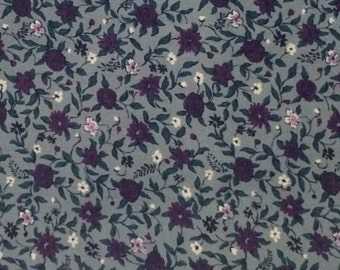 Cotton Fabric / Cotton Calico Fabric / Purple Floral Fabric / Blue Floral Fabric / Floral Fabric / Quilting Fabric / Fruit of The L