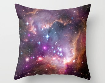 Magellanic Cloud  Pillow Cover,Nebula, Astronomy,Stars,Cosmos,Purple, Lounge, Living Room, Home Decor, 18 x 18, 22 x 22
