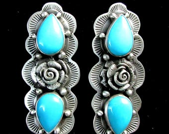 Navajo~RANDALL ENDITO~Turquoise with Hand Made Roses~925~Non Dangle Earrings~Free Shipping!