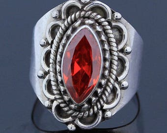 Handmade Red Topaz Ring - 925 Sterling Silver - Ring Size 7 Jewelry - R131