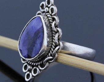 Rare Blue Rough Sapphire Ring - 925 Sterling Silver  - Ring Size 10 Jewelry - R135