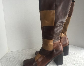 Vintage Brown Faux Leather Patchwork Boots Transit Size Six and a Half M
