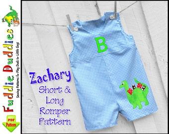 Zachary Toddler Romper Pattern, Jon Jon Pattern,  Boys Sewing Pattern. PDF Pattern, Toddler Sewing Pattern. Short-Long Romper Pattern.
