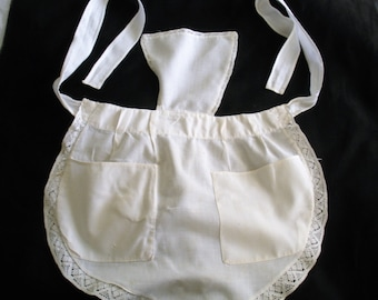 Vintage French Maid Apron White with Lace