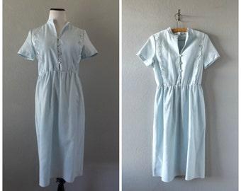 Cutout Floral 80s Dress Vintage Light Blue Woven Midi Length Dress Small Medium Hipster Minimal Short Sleeve Dresses 1980s Preppy Minimalist