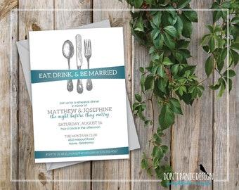 Printable Rehearsal Dinner Invitation - Elegant Silverware Wedding Rehearsal Invitation - Eat, Drink, and be Married - Teal & Silver