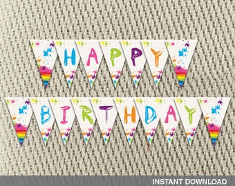 Pennant Banner - Art Party - Paint - Splatter - Rainbow - Happy Birthday - Instant Download - DIY Digital Decorations
