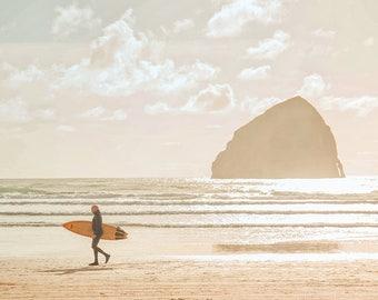 Beach Photography | Oregon Coast | Vintage Style | Pastel Colors | Surfer Print | Haystack Rock | Ocean | Seaside Print | Pacific City