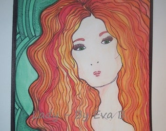 Watercolor Painting Lady Red Hair Green Background Gift For New Home Art Drawing Woman Wavy Hair