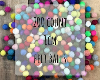200 count 1 cm Wool Felt Balls - assorted colors