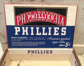 Cigar Box, Trinket Box, Vintage, Shabby, Tobacco Box, Great Graphics, Storage Box, Tobacco, Industrial Storage, 1940s, All Vintage Man