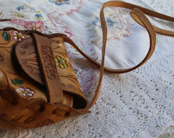Mexican Purse Hand Tooled Leather Small Size 1970's Leather Purse