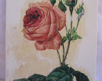 Rose Painting Canvas on Wood Mixed Media