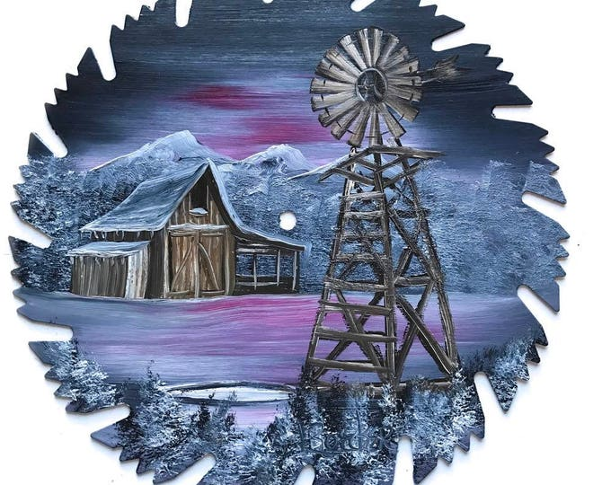 Hand Painted Saw Blade Mountain  Gray and Mauve Winter Barn and Windmill