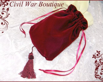 Civil War / Victorian Burgundy Maroon Velvet RETICULE / PURSE NEW