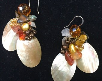 Oval Cuts Mother-of-Pearl Wire-Wrapped Earrings