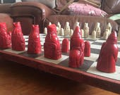 Harry Potter Wizards Chess Set  Isle of Lewis Antique Red and Aged Stone with Optional Chess Mat