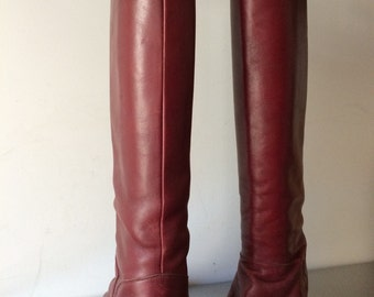 Vintage Leather Boots / 1970's Burgundy Leather Boots