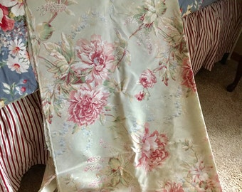7.5 Yards Cotton Floral Fabric in Mint Green and Pinks
