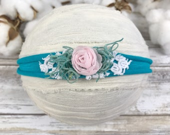Turquoise tieback headband~Photo props~Photography props~Baby photo props~Newborn~Toddler~Jersey tieback headband~Easter prop~Spring prop