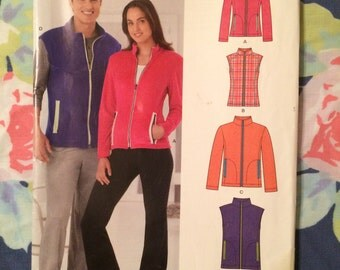 Unisex Zip Up Vest  or Jacket New Look Sewing Pattern 6251 Size A 8-18 xs s m l xl Factory Folded Uncut FF UC