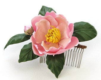 SAMPLE SALE bridal flower comb, camellia flower, spring jewelry, pink flower, wedding flowers, fabric flower hair corsage, gift for her