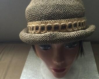 55% STORE WIDE SALE Vintage Hat, Woven Hat, Accessory,  Flower Hat