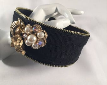 Headband, Hand Designed With Vintage Jewelry Pieces, Gold & Pearls, Floral, Day Or Evening Wear, Decorative Hair Accessory
