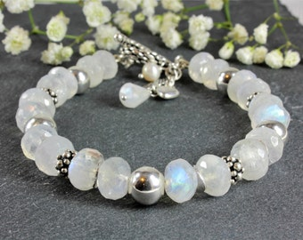Natural Moonstone Bracelet, 925 Sterling Silver, moonstone jewelry, milky white gemstone bracelet, statement bracelet, June birthstone, 4146