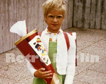 Vintage Photo 1970s, My First Day of School Photo, Color Photo of School Girl 1930s, Collector Photo