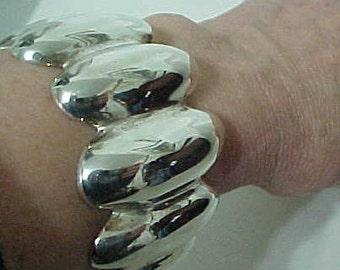 TAXCO Bold Sterling Bracelet Mid Century Signed  51g