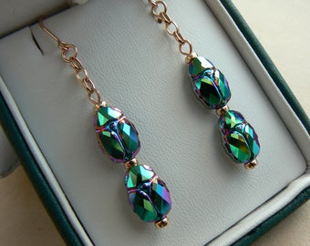 OOAK 14ct Rose Gold Filled Deco Egyptian Revival style chain drop earrings with Swarovski elements Scarabs