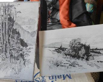 two vintage ink wash landscape drawings