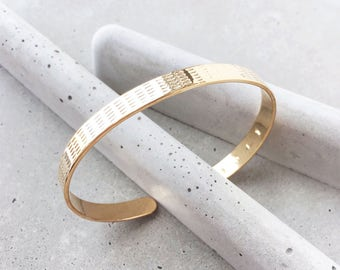Benchmark Cuff Bracelet / 14k gold plate / stripe design / texture pattern cuff
